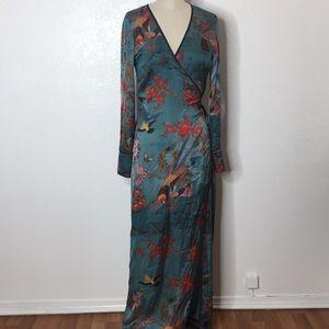 Zara Floral maxi wrap boho summer dress cardigan s